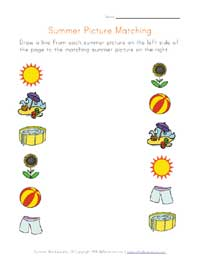 printable summer picture matching