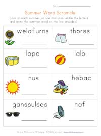 summer worksheet - word scramble
