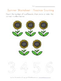 printable summer counting to 5