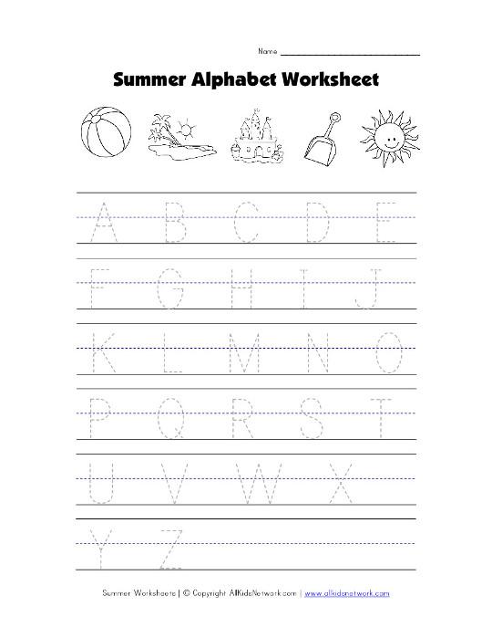 summer tracing capital letters worksheet. Black Bedroom Furniture Sets. Home Design Ideas