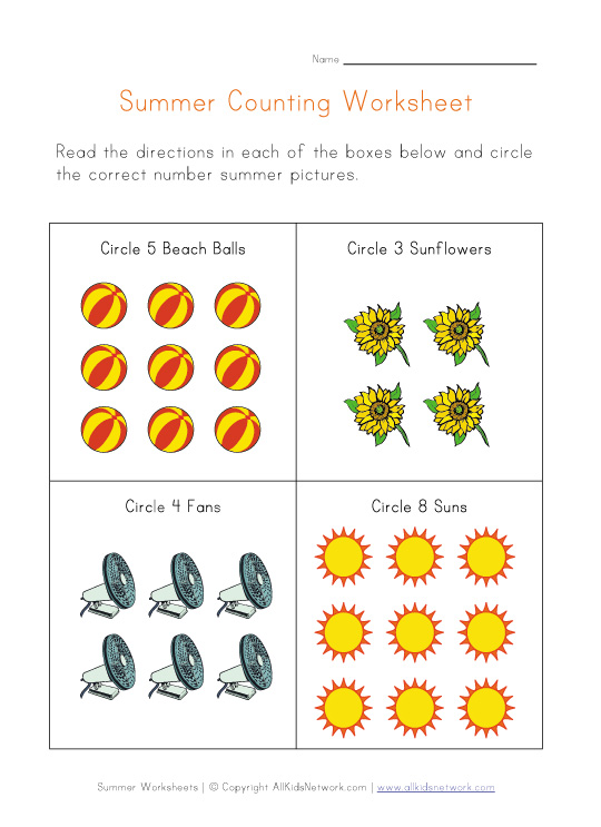 summer counting worksheet