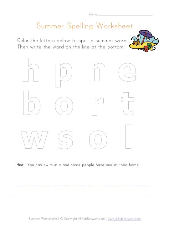 summer spelling worksheet
