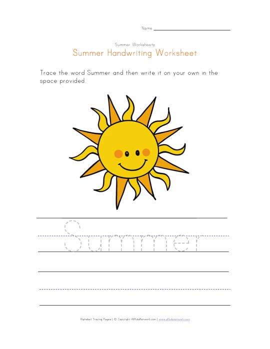 summer handwriting worksheet