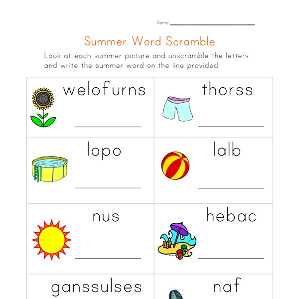 View and Print Your Free Summer Word Scramble Worksheet