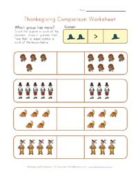 thanksgiving comparison worksheet