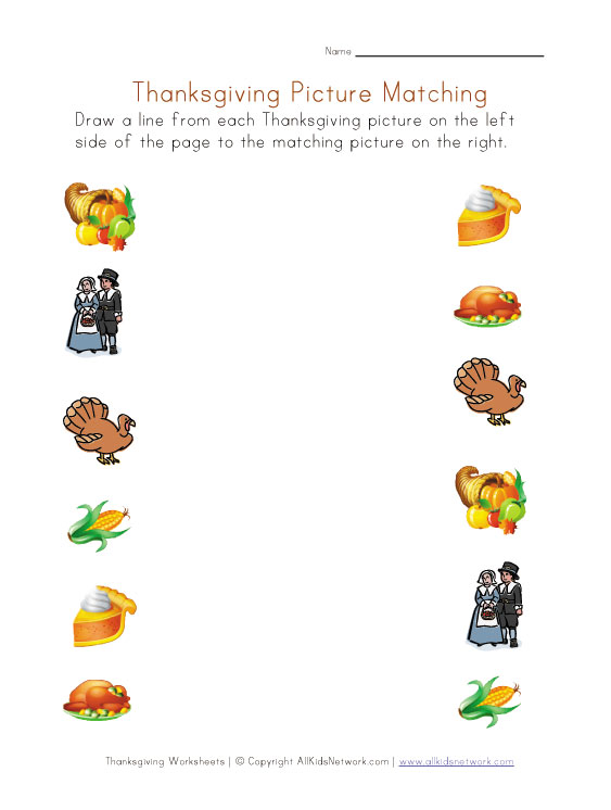 thanksgiving pictures worksheet