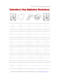 valentines day tracing alphabet worksheet
