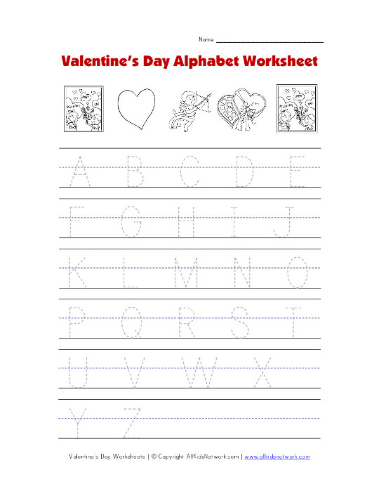 valentine 39 s day tracing alphabet worksheet. Black Bedroom Furniture Sets. Home Design Ideas
