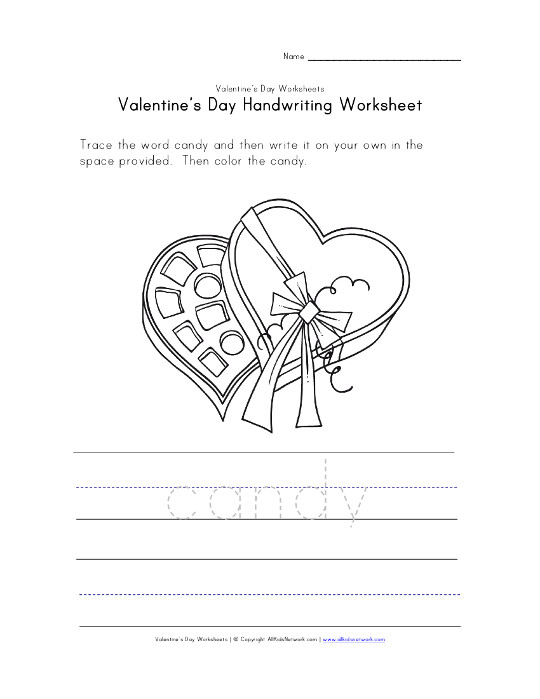 valentine 39 s day candy writing worksheet. Black Bedroom Furniture Sets. Home Design Ideas