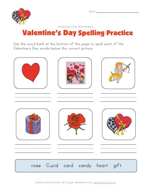 valentine 39 s day spelling practice worksheet. Black Bedroom Furniture Sets. Home Design Ideas