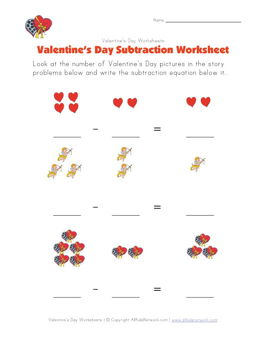... By Number Addition Worksheets Valentines Valentine's day subtraction