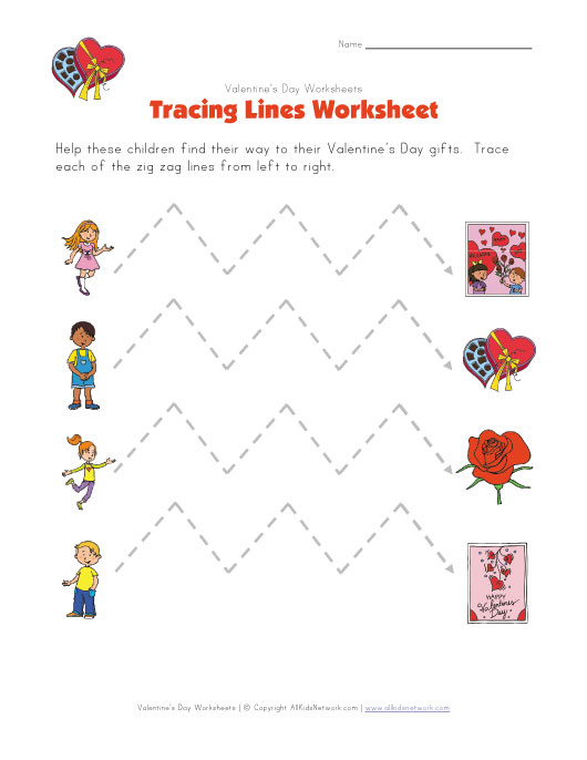valentine 39 s day tracing zig zag lines worksheet. Black Bedroom Furniture Sets. Home Design Ideas