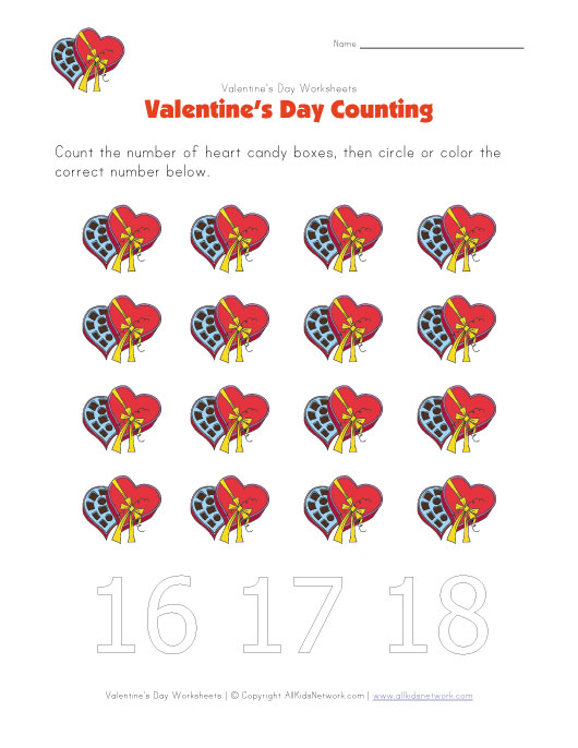 valentine 39 s day worksheet counting sixteen. Black Bedroom Furniture Sets. Home Design Ideas