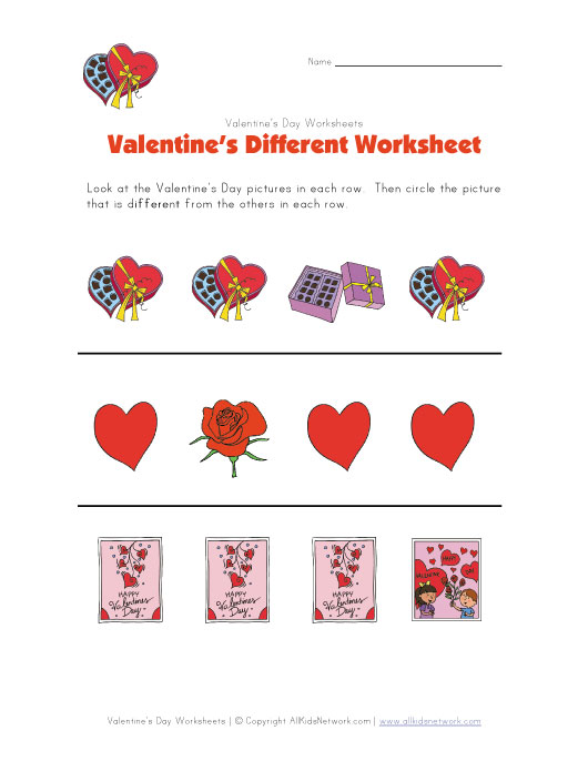 valentines day different worksheet