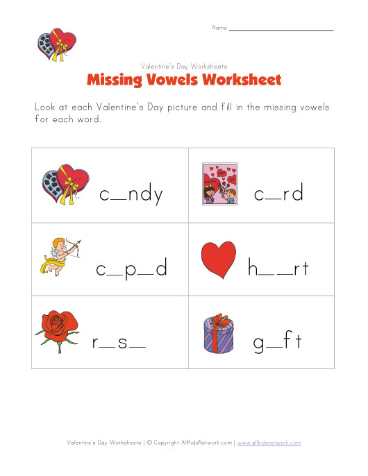 valentines day missing letters worksheet