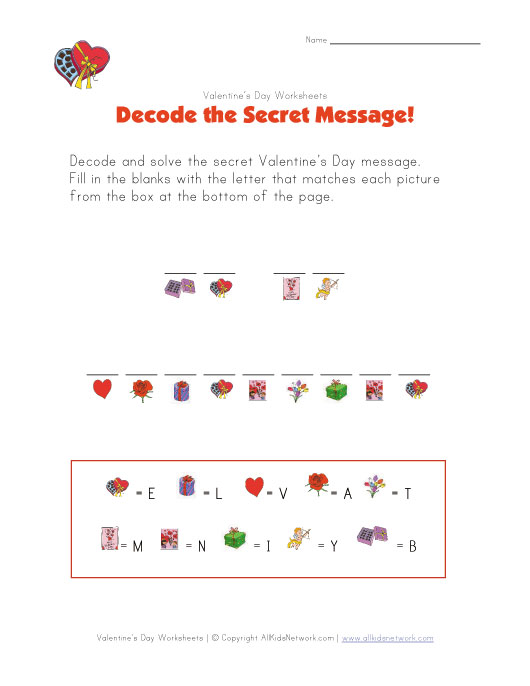 Valentine Easy Worksheets : Day kid printable puzzle valentine trials ireland