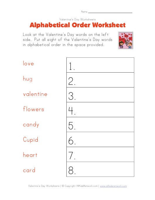 valentines day alphabetical order worksheet