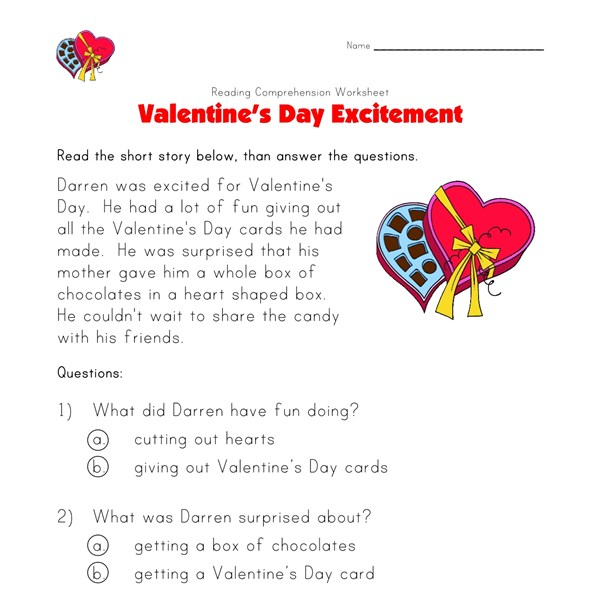 valentine 39 s day reading comprehension worksheet all kids network. Black Bedroom Furniture Sets. Home Design Ideas
