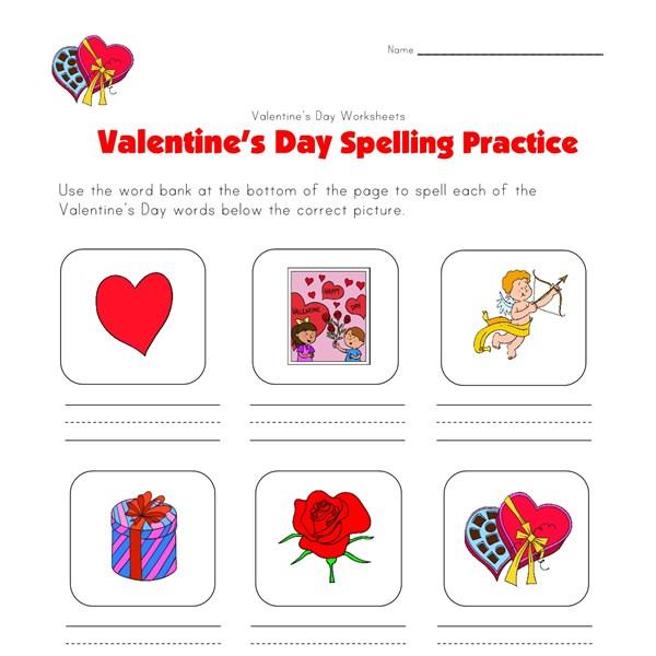 valentine 39 s day spelling practice worksheet all kids network. Black Bedroom Furniture Sets. Home Design Ideas