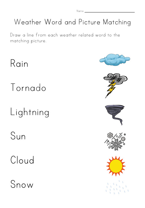 weather worksheet matching