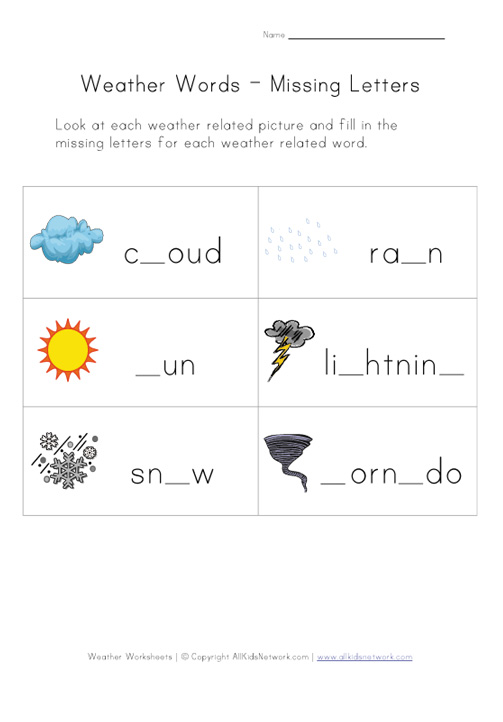 Weather Worksheet Our English Site – Weather Worksheets for 2nd Grade