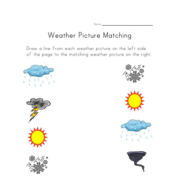 Weather Worksheet - Picture Matching : All Kids Network
