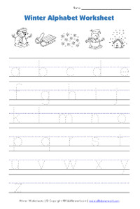 winter lowercase alphaet tracing worksheet