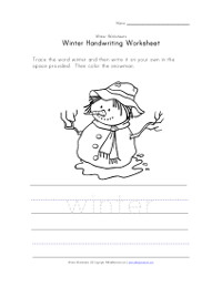 snowman handwriting and color worksheet
