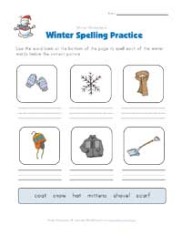 winter spelling practice