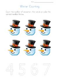 printable winter counting to 6