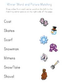 printable winter word matching