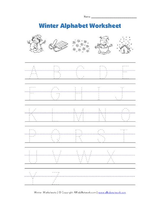 winter alphabet tracing worksheet. Black Bedroom Furniture Sets. Home Design Ideas