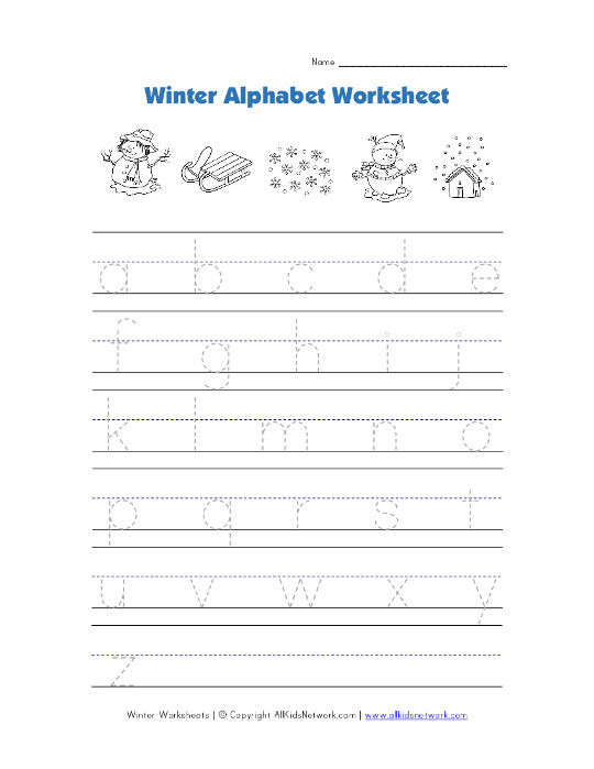 winter alphabet tracing lowercase worksheet. Black Bedroom Furniture Sets. Home Design Ideas
