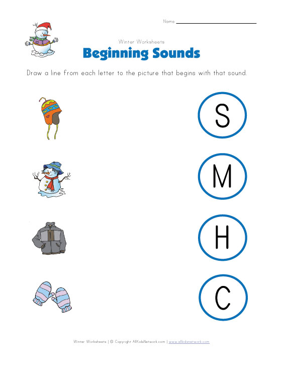 View and Print Your Winter Beginning Sounds Worksheet