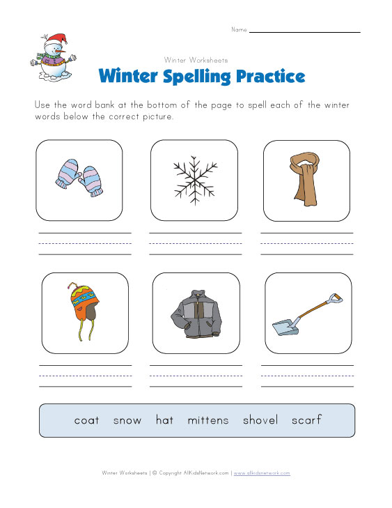 winter spelling worksheet