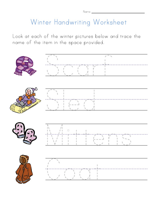 winter handwriting worksheet. Black Bedroom Furniture Sets. Home Design Ideas