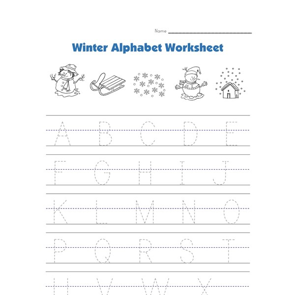 Winter Alphabet Tracing Worksheet : All Kids Network