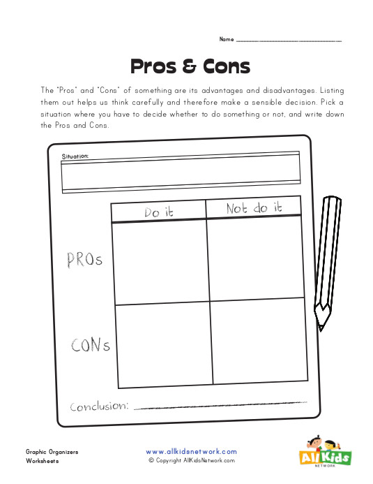 Situational Pros and Cons Graphic Organizer | All Kids Network
