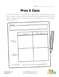 pros and cons graphic organizer chart