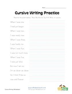 Free printable cursive worksheets for 5th grade
