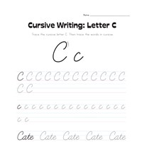 cursive letter C worksheet