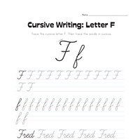cursive letter F worksheet
