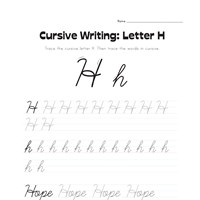 cursive letter H worksheet
