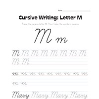 cursive letter M worksheet