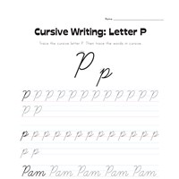 cursive letter P worksheet