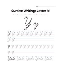 cursive letter Y worksheet